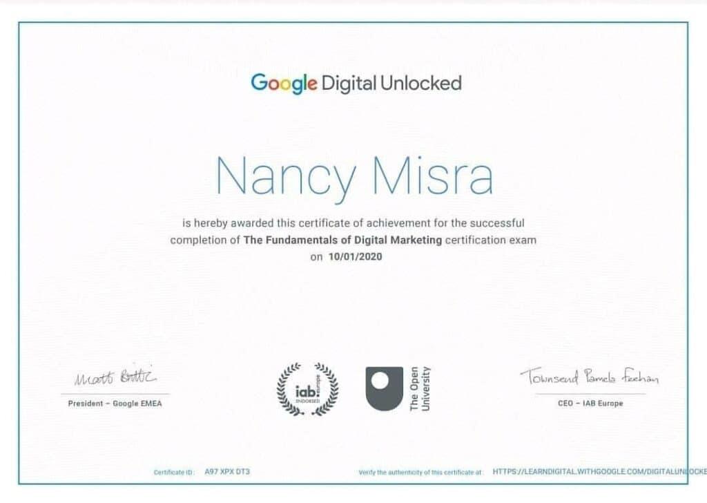 google digital unlocked certificate